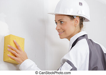 portrait of a cleaning service woman