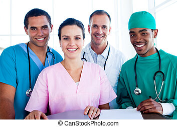Portrait of a successful medical team at work