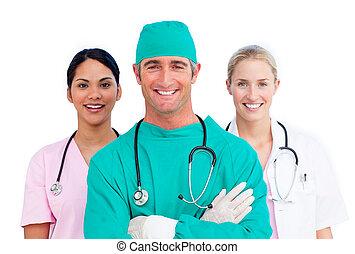 Portrait of ambitious medical team
