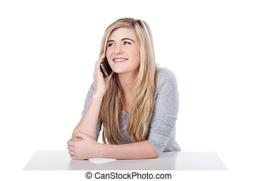 Portrait Of Casual Teenage Girl With Cellphone