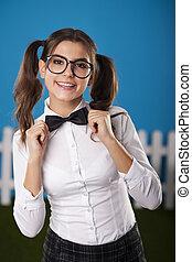 Portrait of elegant nerdy woman