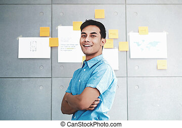 Portrait of Happy Young Asian Businessman Crossed Arms and Smiling in Office Meeting Room. Document's Data Plans and Project as background