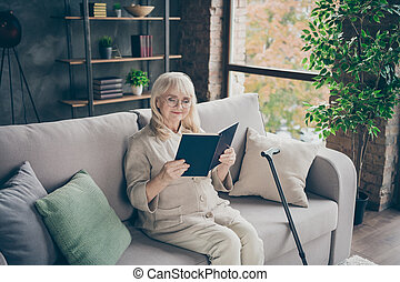 Portrait of her she nice attractive focused calm gray-haired lady sitting on divan reading interesting love story spending time at industrial brick loft modern style interior house indoors