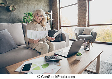 Portrait of her she nice attractive smart clever focused gray-haired businesslady sitting on divan preparing report analysis at industrial brick loft modern style interior house apartment