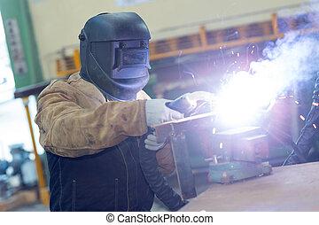 portrait of industrial worker welding