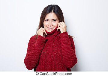 Portrait of woman in a red sweater