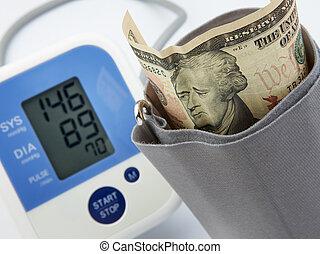 portrait on banknote looks sad with the measurement of blood pressure gauge, economic depression concept