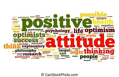 Positive attitude concept in word tag cloud on white background