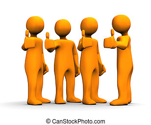 Orange cartoons with a positive symbol on the white background.
