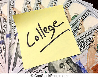 Post it note with handwritten word college on money