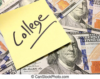 Post it note with hardwritten college on american cash money