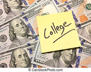 Post it note with hardwritten text college on money