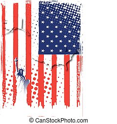 statue of liberty on the flag of america