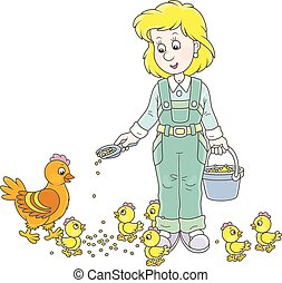 Friendly smiling poultry maid giving food to her hen and small yellow chicks on a poultry farm, a vector illustration in a cartoon style