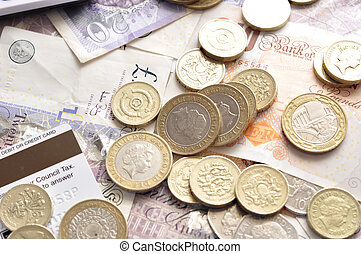 pound sterling bank notes and coins