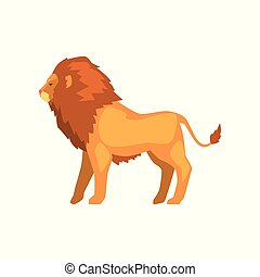 Powerful lion standing, wild predatory animal side view vector Illustration on a white background