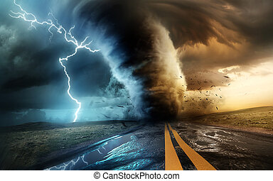 Powerful Tornado And Storm With Lightning