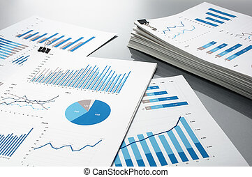 Preparing report. Blue graphs and charts.