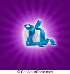 present box on purple background