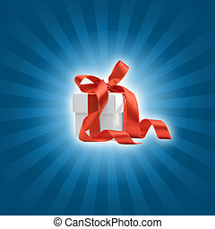 present box with blue background