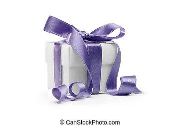 present box with blue ribbon