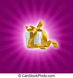 present box with purple background