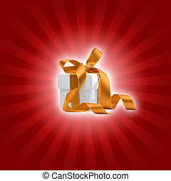 present box with red background