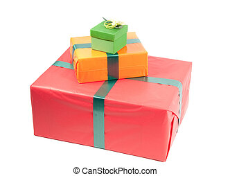 Studio shot of boxes with presents, isolated on white