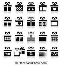 Present, gift box vector icons set