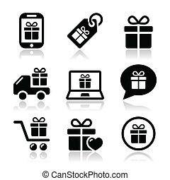 Present, buying online icons set isolated on white