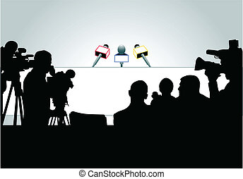 Media people ready for press conference (an each person is on the separate layer)