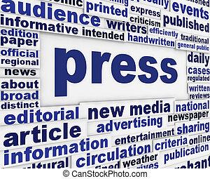 Press poster design. Publication message background