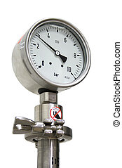 10Bar pressure guage isolated on white.