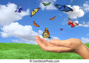 Butterflies Flying Free Against a Beautiful Spring Landscape