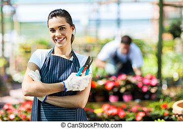 pretty female nursery worker portrait