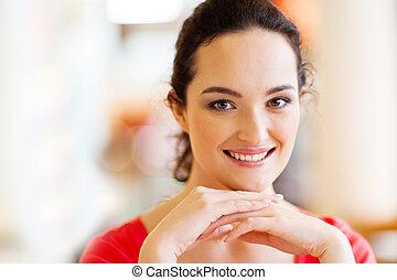 pretty young woman closeup portrait