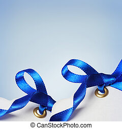 Price Tags with Blue Ribbons