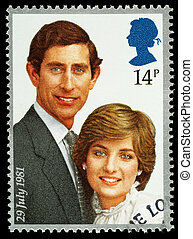UNITED KINGDOM - CIRCA 1981: A British Used Postage Stamp celebrating the Royal Wedding of Prince Charles and Lady Diana Spencer, circa 1981