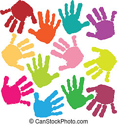 Illustration of children hand prints on a white background.