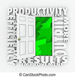 Productivity Efficiency 3d Word Door Improve Results Output
