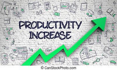 Productivity Increase Drawn on Brick Wall. 3d.