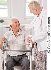 Professional carer helping her patient