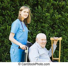 Professional Help for Elderly in Wheelchair