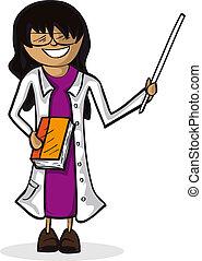 Professional teacher woman cartoon figure.