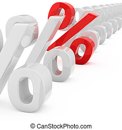 Red percentage symbol in a row of many white percentage symbols