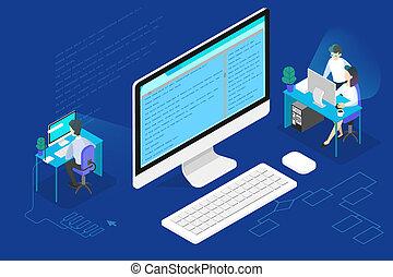 Programmer or web developer concept. Working on computer