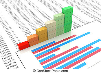 3d progress bars on background of spreadsheet and chart