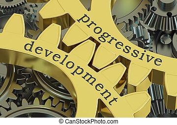 progressive development concept on the gearwheels, 3D rendering