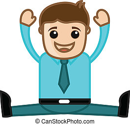 Drawing Art of Young Cartoon Businessman Laughing Vector Illustration
