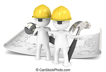 3D little human character The Builder X2 planning infront of a Blueprint. People series.